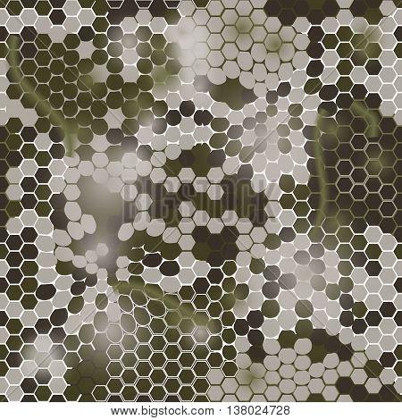 Gexagonal camouflage. Vector digital gexagonal camo pattern