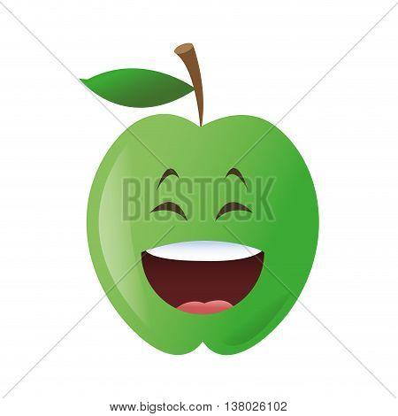 flat design laughing apple cartoon icon vector illustration