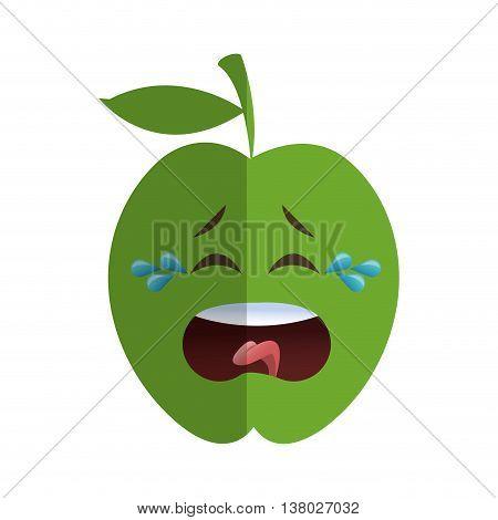 flat design apple cartoon icon vector illustration