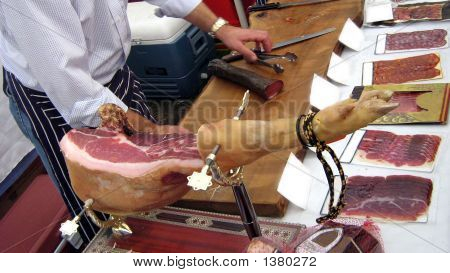 Carving Pork Meat. Meat In The Market.Smoked Pork