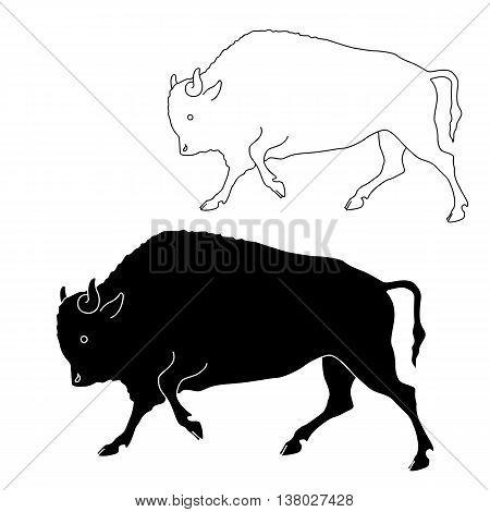bison black silhouette vector illustration set line