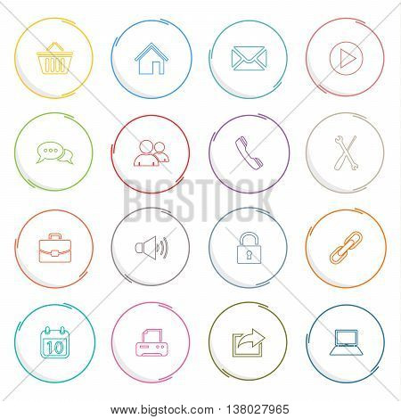 Collection colored atypical round thin line icons template vector eps 10