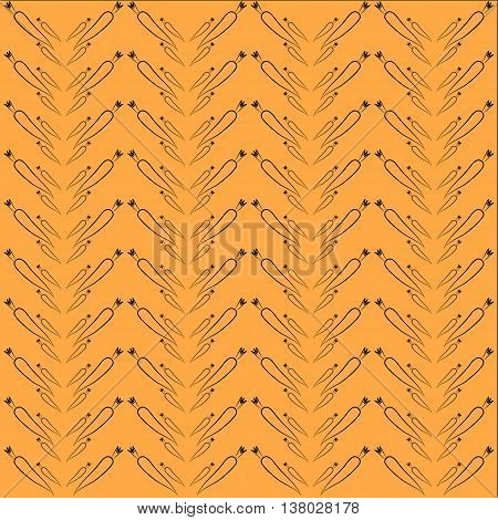 Carrot background. Silhouettes of carrot on an orange background