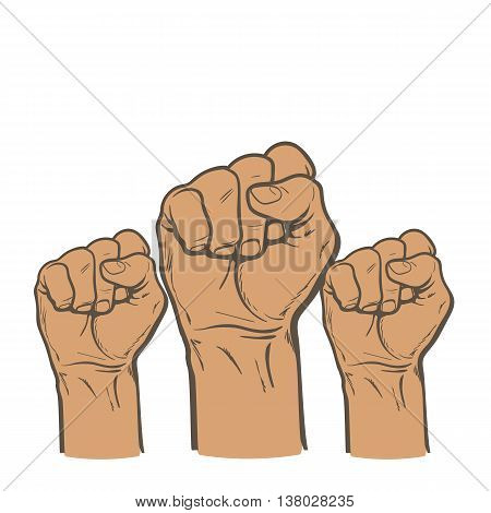 Many a man's fist on a red background. illustration sketch of three human hands raised up, drawn by hand. color art concept of resistance, strength, majority, fight, defending rights of society