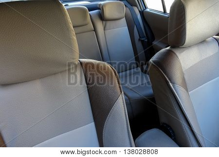 Two Colored Leather Car Seats and Armrest in Car Interior Detailed