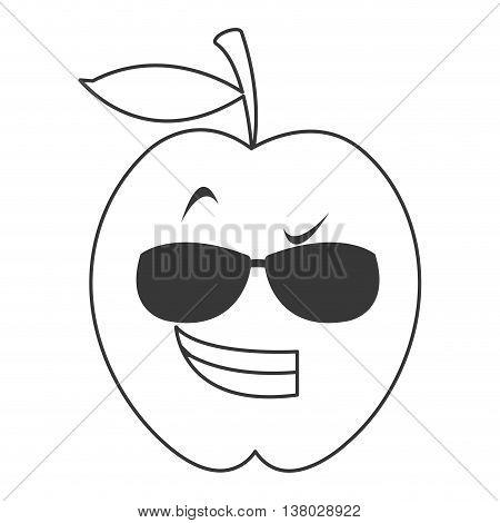 flat design cool sunglasses apple cartoon icon vector illustration