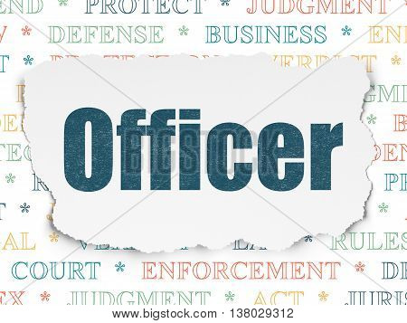 Law concept: Painted blue text Officer on Torn Paper background with  Tag Cloud