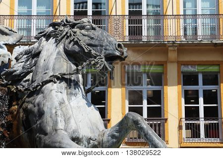 LYON, FRANCE - MAY 24, 2015: This is fragment of the fountain Bartholdi located on one of the main squares of Lyon - Place des Terreaux.