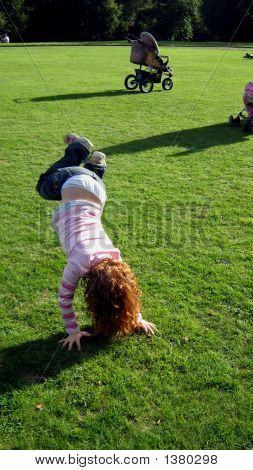 Girl Doing Hand Standing/ Playing
