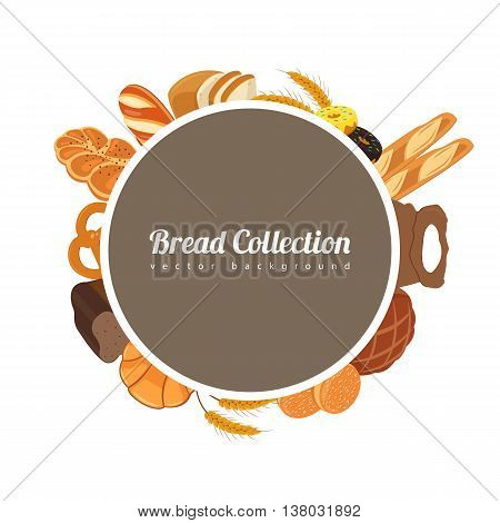 Round label with bread. Food background with bread icons. Bakery products. Vector illustration