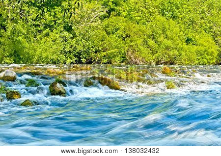 cetina river rapids near svinisce village in croatia