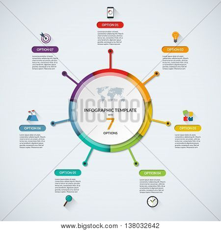 Infographic circle diagram template. Business concept with 7 steps, parts, options. Banner with the set of flat icons and design elements. Can be used for cycle diagram, round chart, graph, report