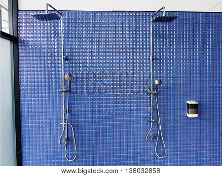 Shower On Blue Tile Wall