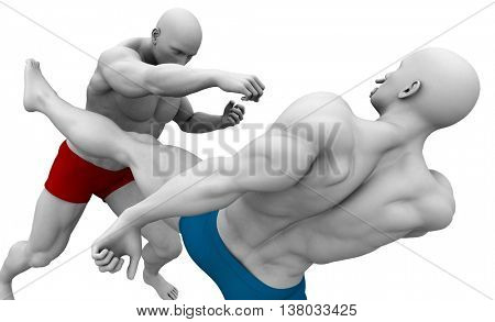 Extreme Sports and Fighting  3d Illustration Render