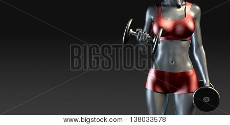 Girl Working Out with Weights Banner Concept 3D Illustration Render