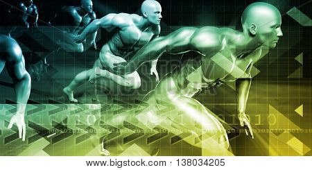 Tracking Technology for Fitness and Corporate Solutions 3D Illustration Render