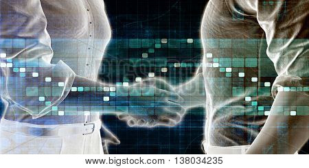 Business Handshake Abstract with Futuristic Background Art 3D Illustration Render