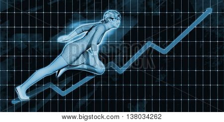 Caucasian Businesswoman Charging Ahead on Blue Background Art 3D Illustration