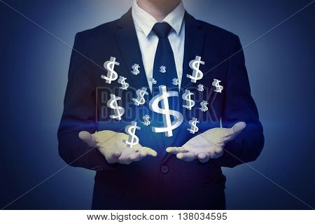 Business man hand holding money, business concept