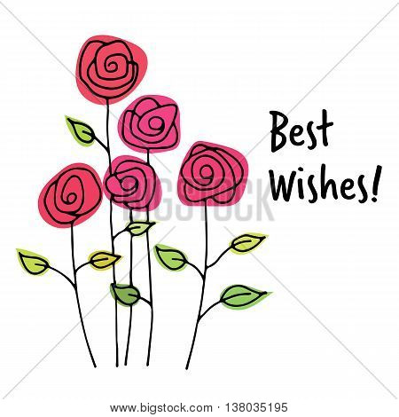 Best wishes card with hand drawn colorful flowers
