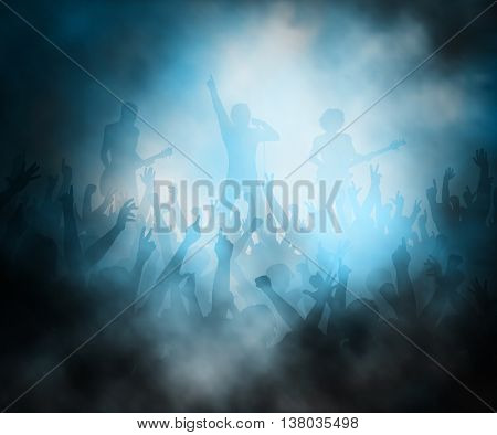 Editable vector illustration of a crowd of people at a rock concert created using gradient meshes