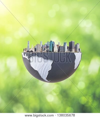Urbanization concept with globe and city on abstract green background. 3D Rendering.