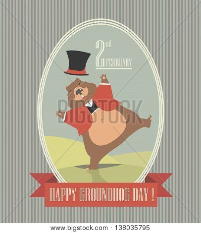Happy Groundhog Day greeting card can be used for covers and more creative designs.
