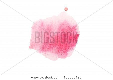Abstract watercolor aquarelle hand drawn colorful shapes art paint splatter stain on white background.