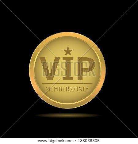 VIP golden label. Members only. Glamour emblem, royal badge