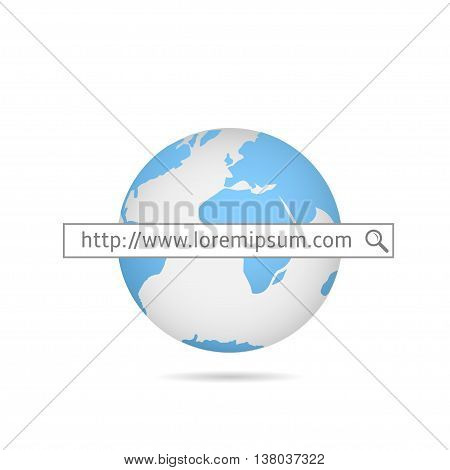 Web search. Blue world map.  Internet service provider.  Internet site. Global computer network