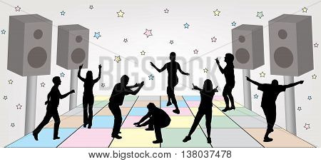Group of people dancing at a party