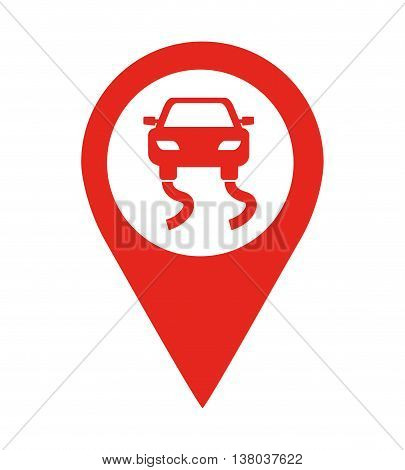 danger road location pin  isolated icon design, vector illustration  graphic
