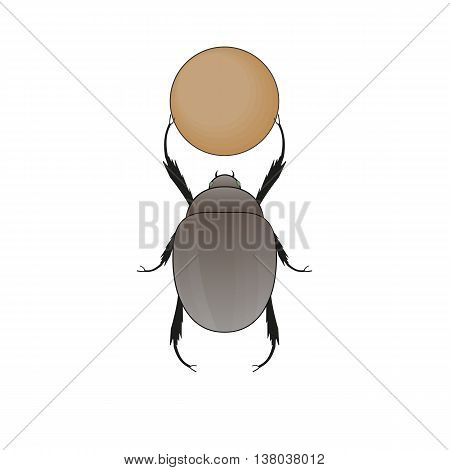 Dung Beetle with Ball of Poop. Vector illustration.