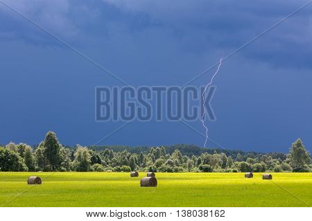Beautiful summer scene with both lightning and sunshine.