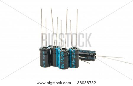 Capacitors component, electronics isolated on white background