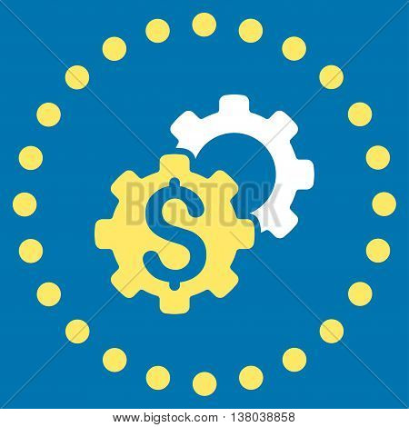 Bank Preferences vector icon. Style is bicolor flat circled symbol, yellow and white colors, rounded angles, blue background.