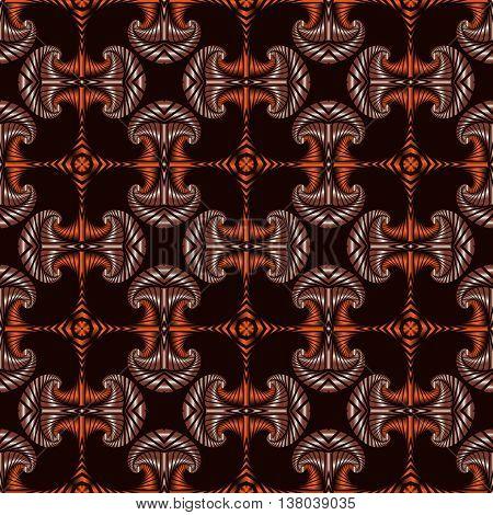 Abstract premium seamless pattern with metallic orange and brown decorative elements on dark brown background