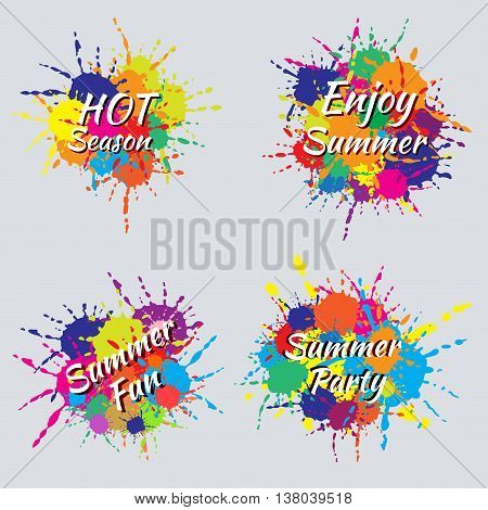 Abstract colorful summer splash labels. Enjoy summer banner. Hot season. Summer party. Summer fun.