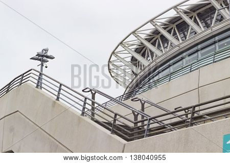 London England - June 3 2016: View of the outside of Wembley Stadium a football stadium which opened in 2007 in London England.