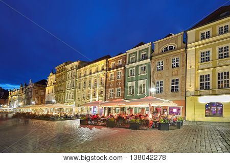 Old Market Square In Poznan At Night, Poland.