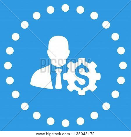 Banker Options vector icon. Style is flat circled symbol, white color, rounded angles, blue background.