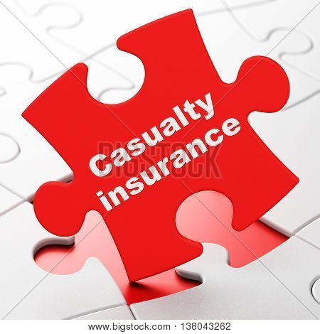 Insurance concept: Casualty Insurance on Red puzzle pieces background, 3D rendering