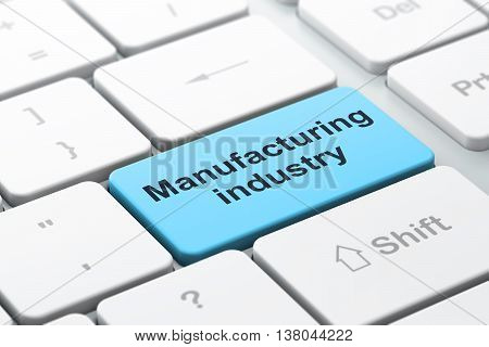 Manufacuring concept: computer keyboard with word Manufacturing Industry, selected focus on enter button background, 3D rendering