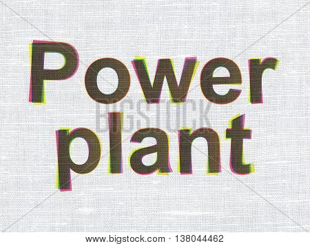 Industry concept: CMYK Power Plant on linen fabric texture background
