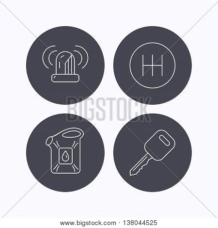 Manual gearbox, jerrycan and car key icons. Siren alarm, fuel jerrycan linear signs. Flat icons in circle buttons on white background. Vector