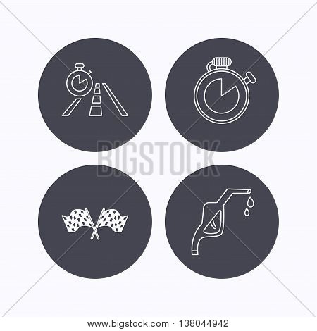 Race flags, travel timer and petrol station icons. Timer linear sign. Flat icons in circle buttons on white background. Vector