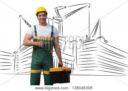 Construction man with hand drawn buildings