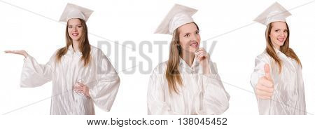 Woman student isolated on white background