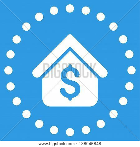 Loan Mortgage vector icon. Style is flat circled symbol, white color, rounded angles, blue background.