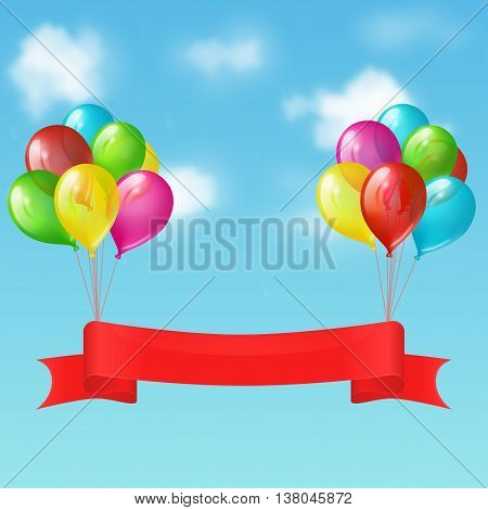Illustration of two bunches of balloons with red ribbon banner on the background of blue sky with clouds